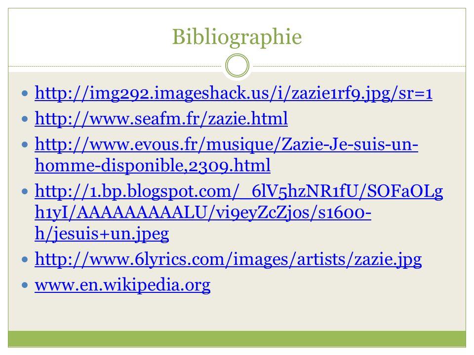 Bibliographie http://img292.imageshack.us/i/zazie1rf9.jpg/sr=1 http://www.seafm.fr/zazie.html http://www.evous.fr/musique/Zazie-Je-suis-un- homme-disp
