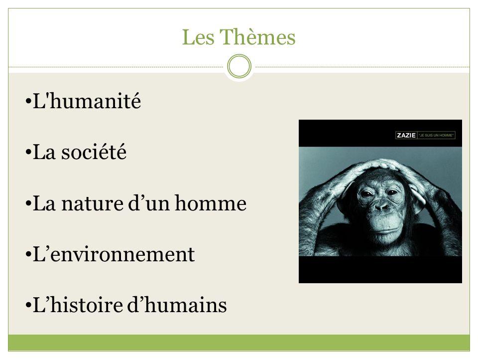 Les Thèmes L'humanité La société La nature dun homme Lenvironnement Lhistoire dhumains