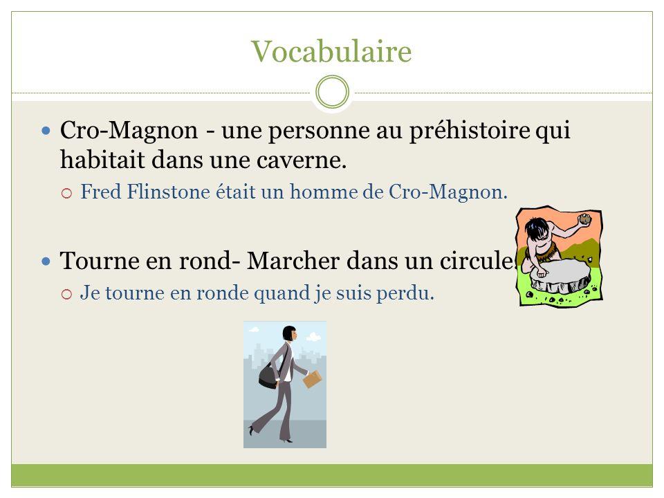 Vocabulaire Cro-Magnon - une personne au préhistoire qui habitait dans une caverne. Fred Flinstone était un homme de Cro-Magnon. Tourne en rond- March