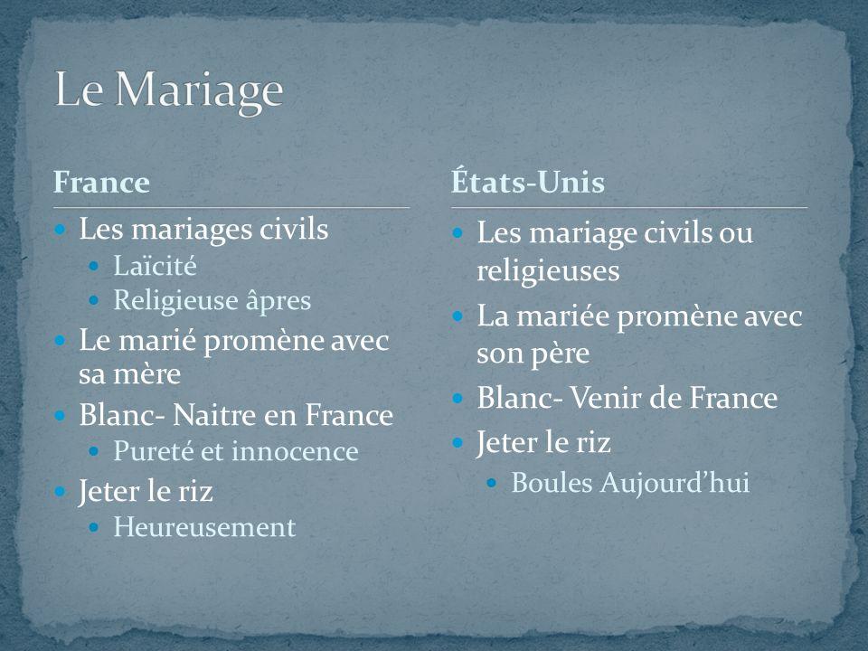 France Les mariages civils Laïcité Religieuse âpres Le marié promène avec sa mère Blanc- Naitre en France Pureté et innocence Jeter le riz Heureusemen
