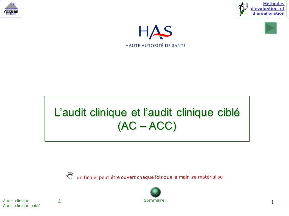 Méthodes dévaluation et damélioration © Accueil Audit clinique Audit clinique ciblé 1 Laudit clinique et laudit clinique ciblé (AC – ACC) Sommaire un