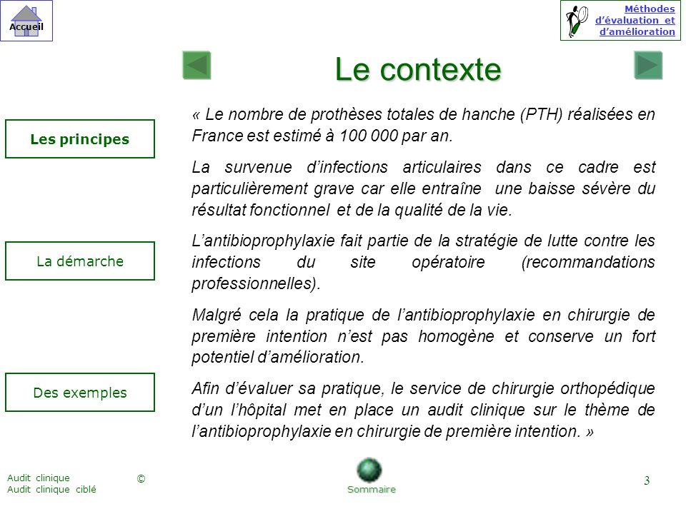 Méthodes dévaluation et damélioration © Accueil Audit clinique Audit clinique ciblé 3 Le contexte « Le nombre de prothèses totales de hanche (PTH) réa