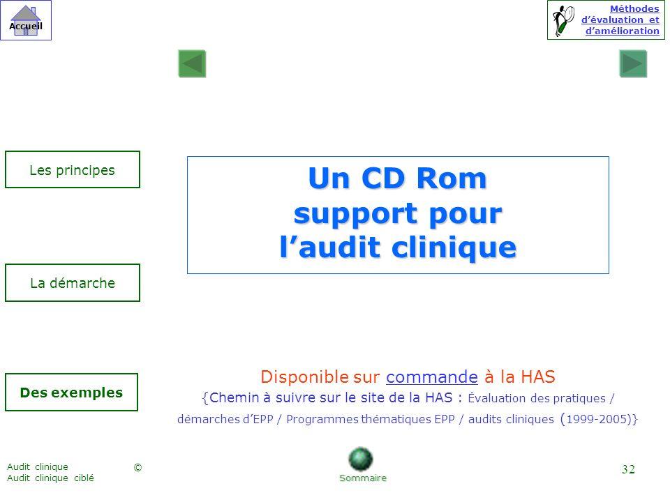 Méthodes dévaluation et damélioration © Accueil Audit clinique Audit clinique ciblé 32 Un CD Rom support pour laudit clinique Disponible sur commande