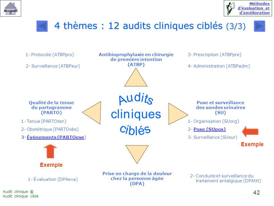 Audit clinique Audit clinique ciblé ©©© Méthodes dévaluation et damélioration Accueil 42 Qualité de la tenue du partogramme (PARTO) Antibioprophylaxie