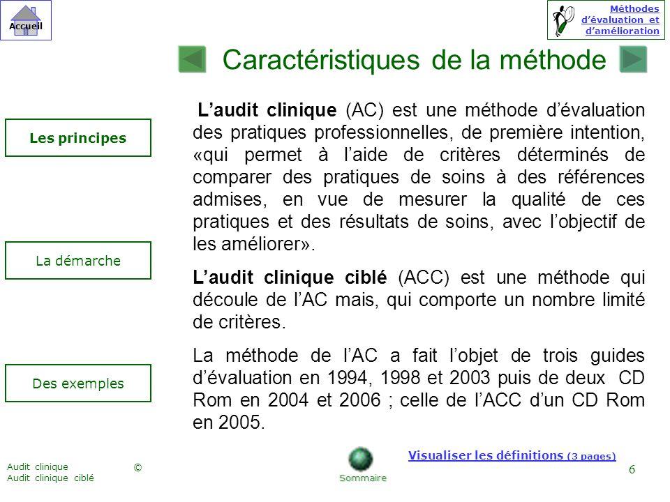 Méthodes dévaluation et damélioration © Accueil Audit clinique Audit clinique ciblé 6 Caractéristiques de la méthode Des exemples Les principes La dém