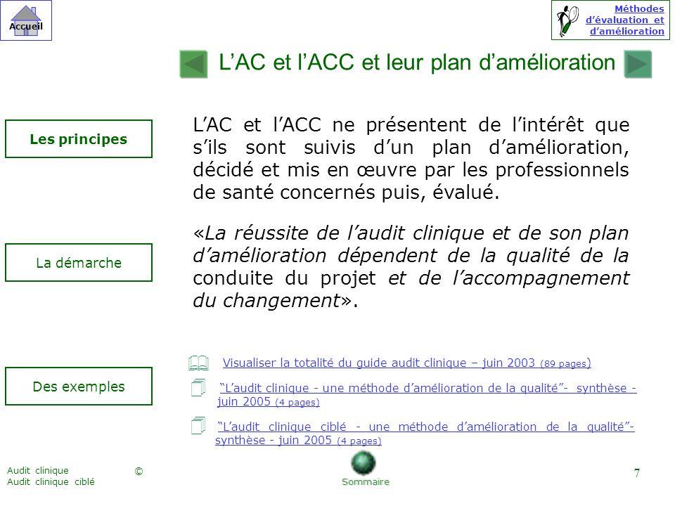 Méthodes dévaluation et damélioration © Accueil Audit clinique Audit clinique ciblé 7 LAC et lACC ne présentent de lintérêt que sils sont suivis dun p