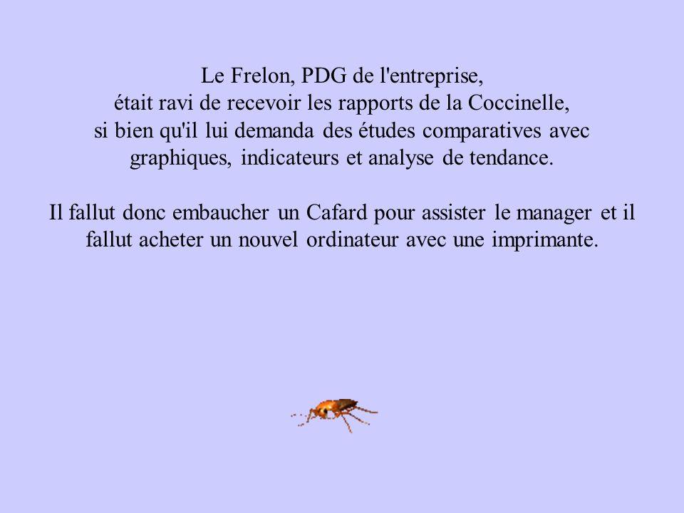 Le Frelon, PDG de l'entreprise, était ravi de recevoir les rapports de la Coccinelle, si bien qu'il lui demanda des études comparatives avec graphique