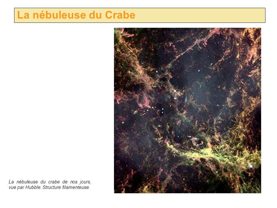 La nébuleuse du Crabe La nébuleuse du crabe de nos jours, vue par Hubble. Structure filamenteuse.
