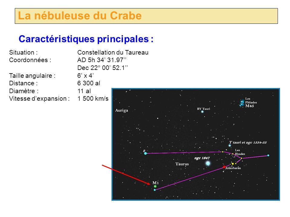 La nébuleuse du Crabe Situation :Constellation du Taureau Coordonnées :AD 5h 34 31.97 Dec 22° 00 52.1 Taille angulaire :6 x 4 Distance : 6 300 al Diam