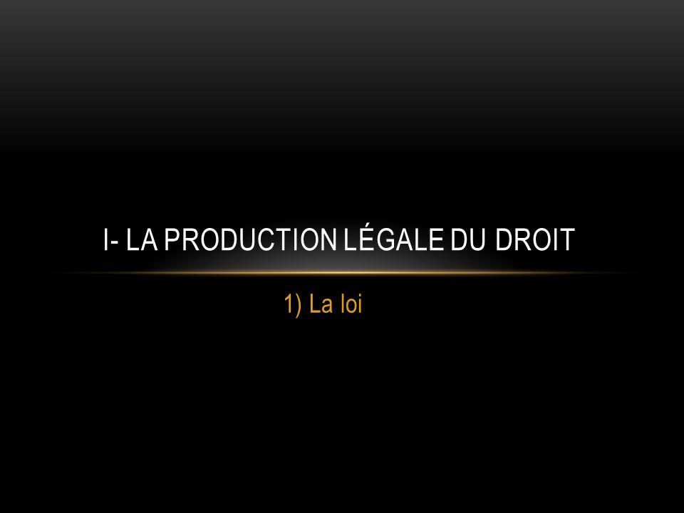 1) La loi I- LA PRODUCTION LÉGALE DU DROIT