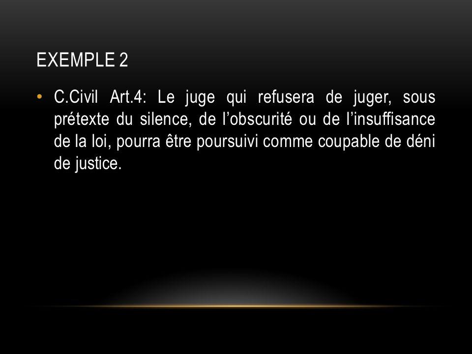 EXEMPLE 2 C.Civil Art.4: Le juge qui refusera de juger, sous prétexte du silence, de lobscurité ou de linsuffisance de la loi, pourra être poursuivi comme coupable de déni de justice.