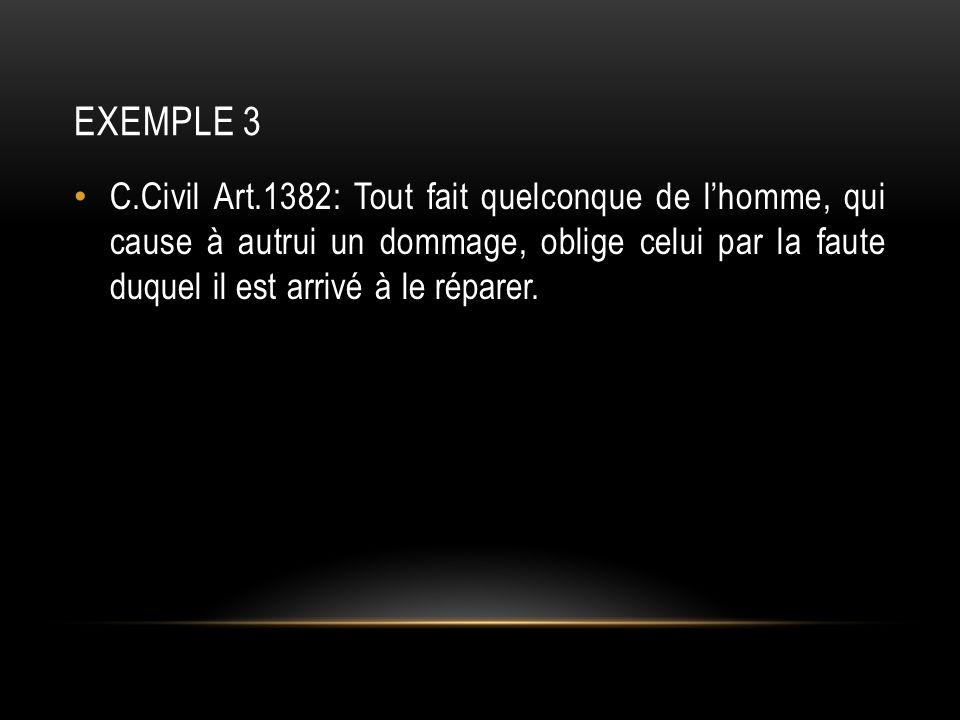 EXEMPLE 3 C.Civil Art.1382: Tout fait quelconque de lhomme, qui cause à autrui un dommage, oblige celui par la faute duquel il est arrivé à le réparer.