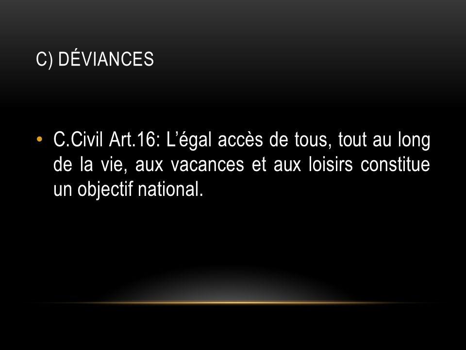 C) DÉVIANCES C.Civil Art.16: Légal accès de tous, tout au long de la vie, aux vacances et aux loisirs constitue un objectif national.
