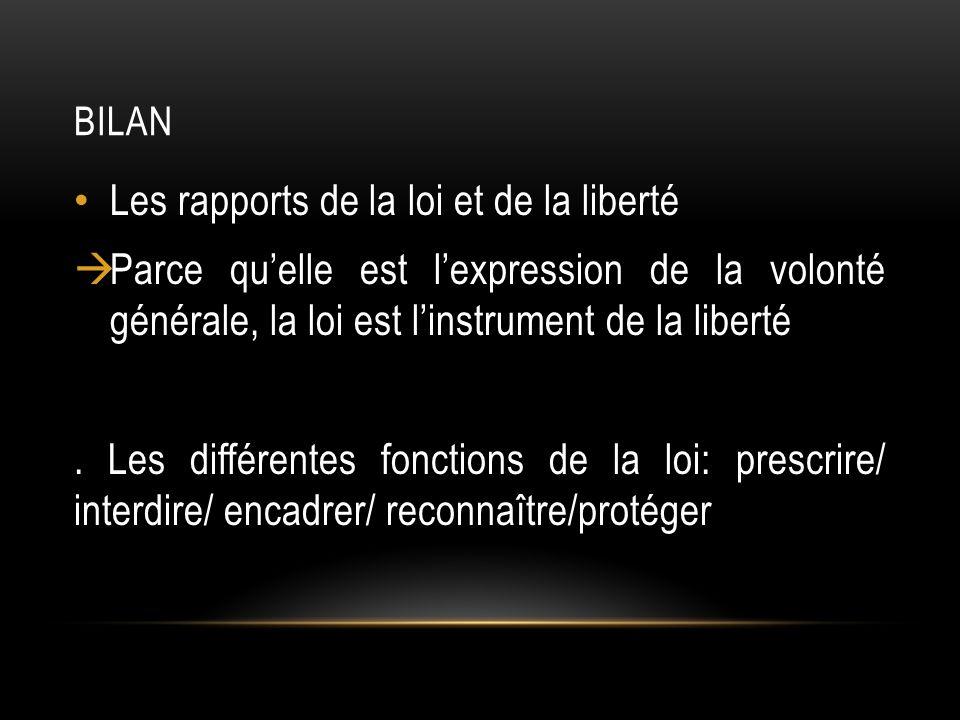 BILAN Les rapports de la loi et de la liberté Parce quelle est lexpression de la volonté générale, la loi est linstrument de la liberté.