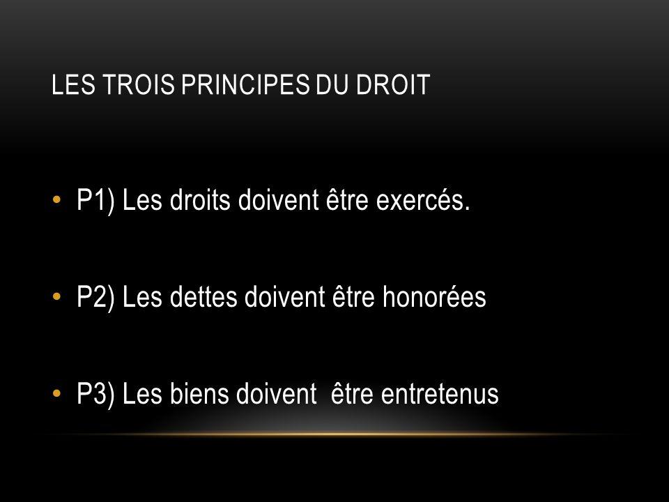 LES TROIS PRINCIPES DU DROIT P1) Les droits doivent être exercés.