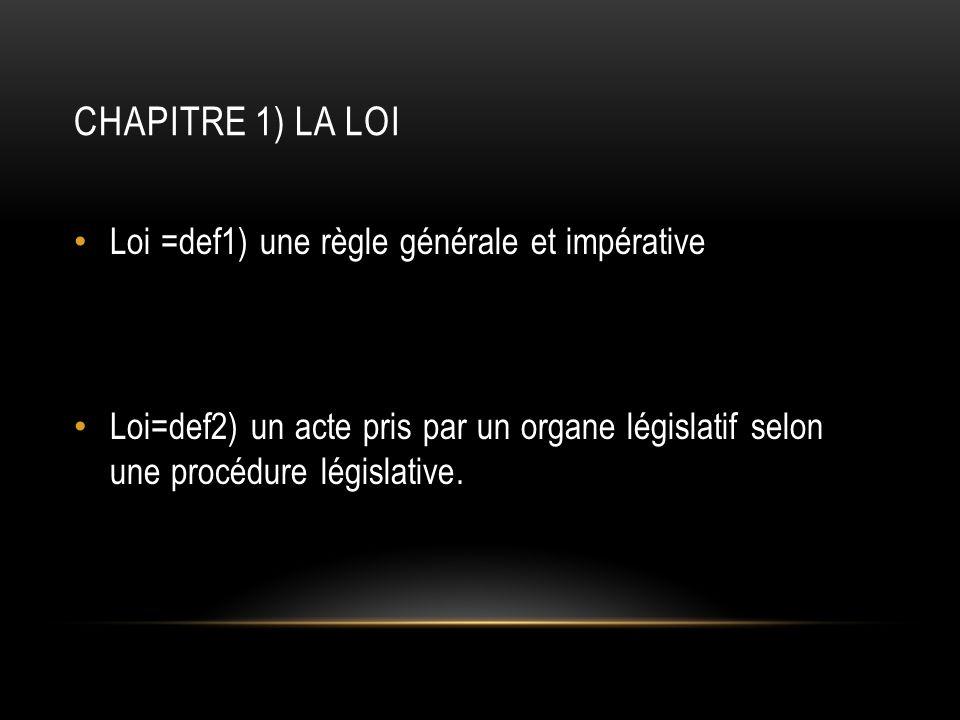 CHAPITRE 1) LA LOI Loi =def1) une règle générale et impérative Loi=def2) un acte pris par un organe législatif selon une procédure législative.