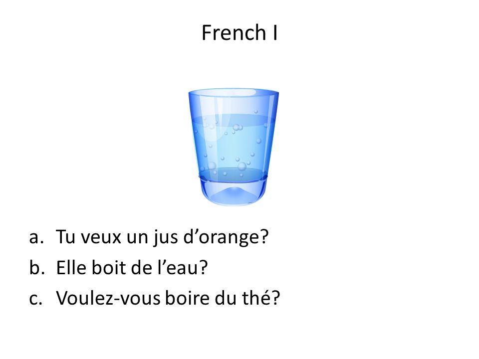 a.Tu veux un jus dorange? b.Elle boit de leau? c.Voulez-vous boire du thé? French I