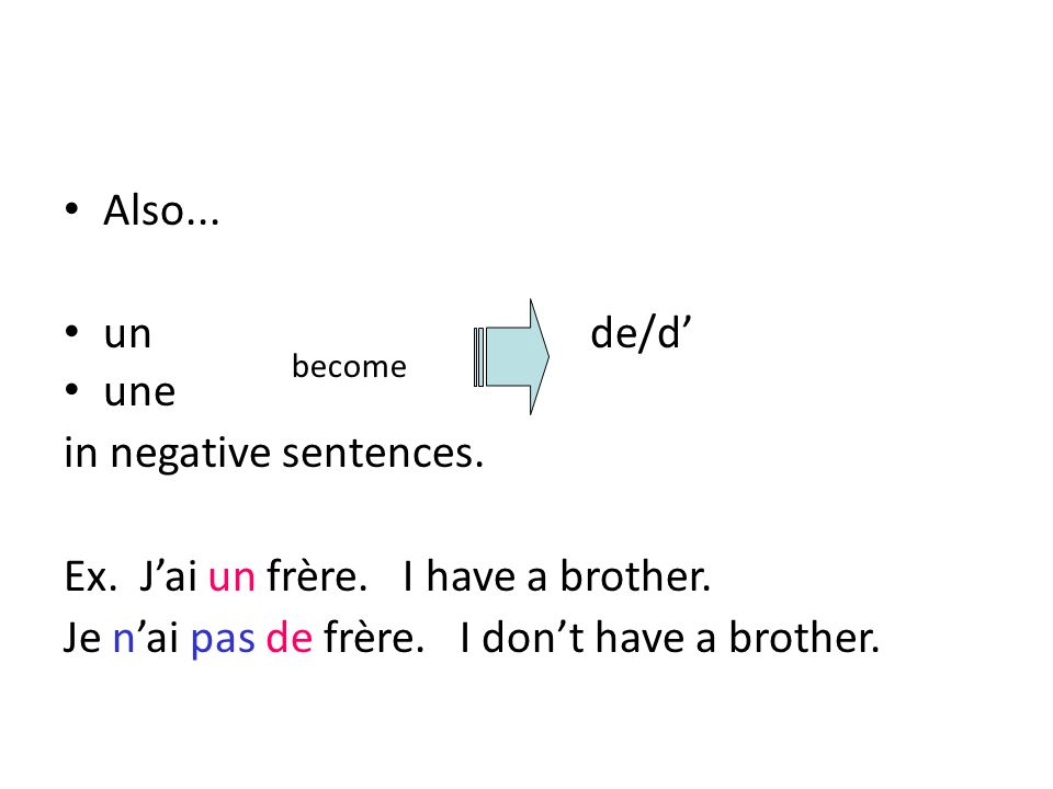 Also... un de/d une in negative sentences. Ex. Jai un frère. I have a brother. Je nai pas de frère. I dont have a brother. become