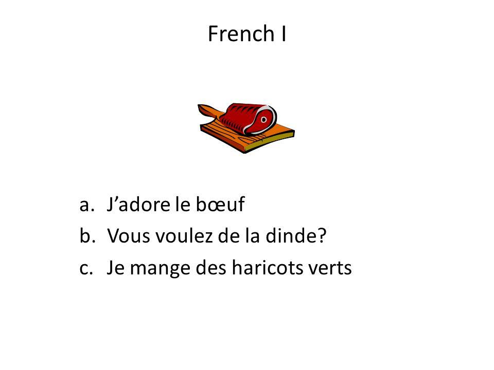 French I a.Jadore le bœuf b.Vous voulez de la dinde? c.Je mange des haricots verts