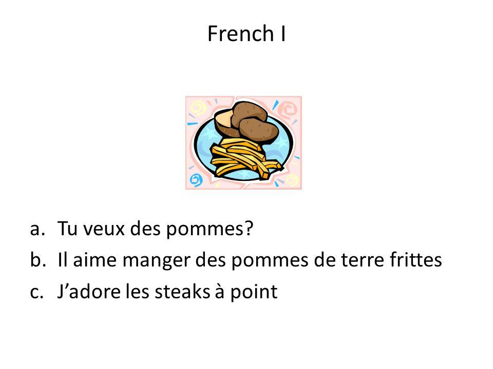 a.Tu veux des pommes? b.Il aime manger des pommes de terre frittes c.Jadore les steaks à point French I