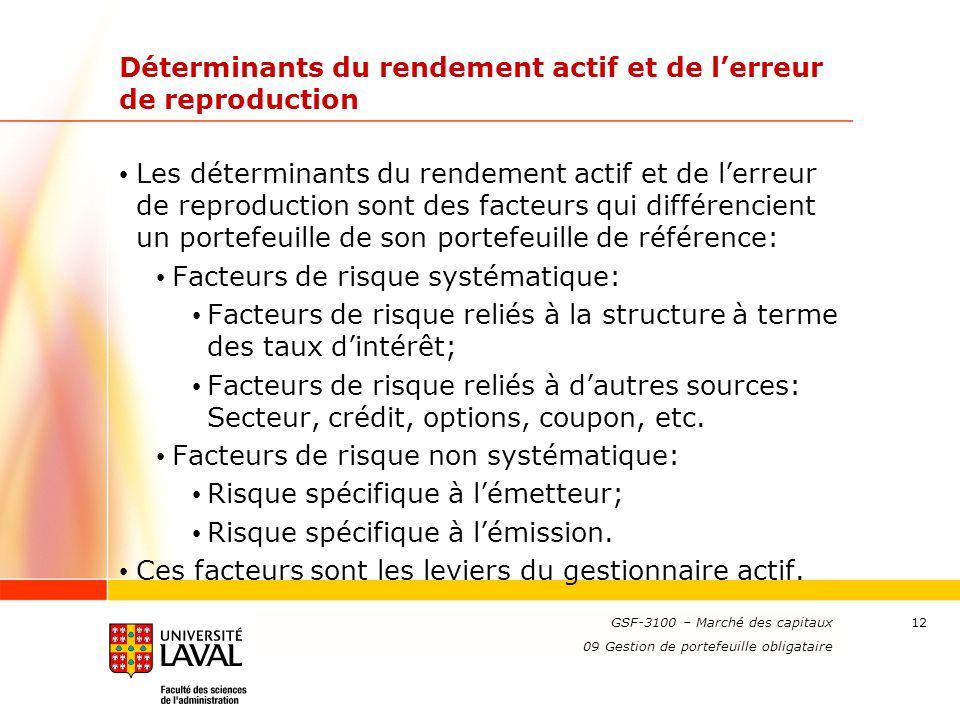 www.ulaval.ca 12 Déterminants du rendement actif et de lerreur de reproduction Les déterminants du rendement actif et de lerreur de reproduction sont
