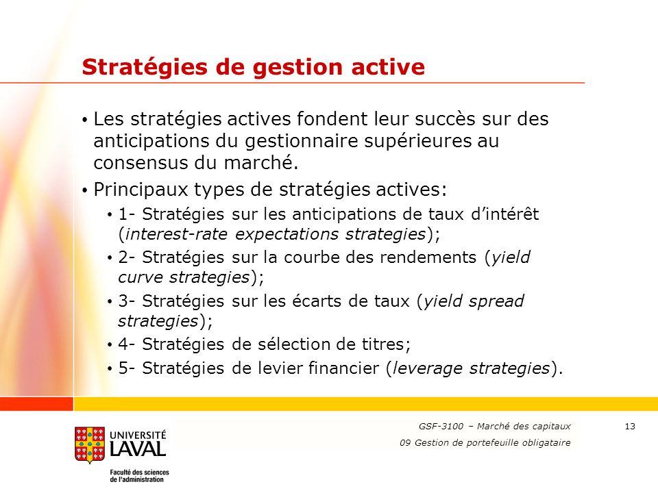 www.ulaval.ca 13 Stratégies de gestion active Les stratégies actives fondent leur succès sur des anticipations du gestionnaire supérieures au consensu