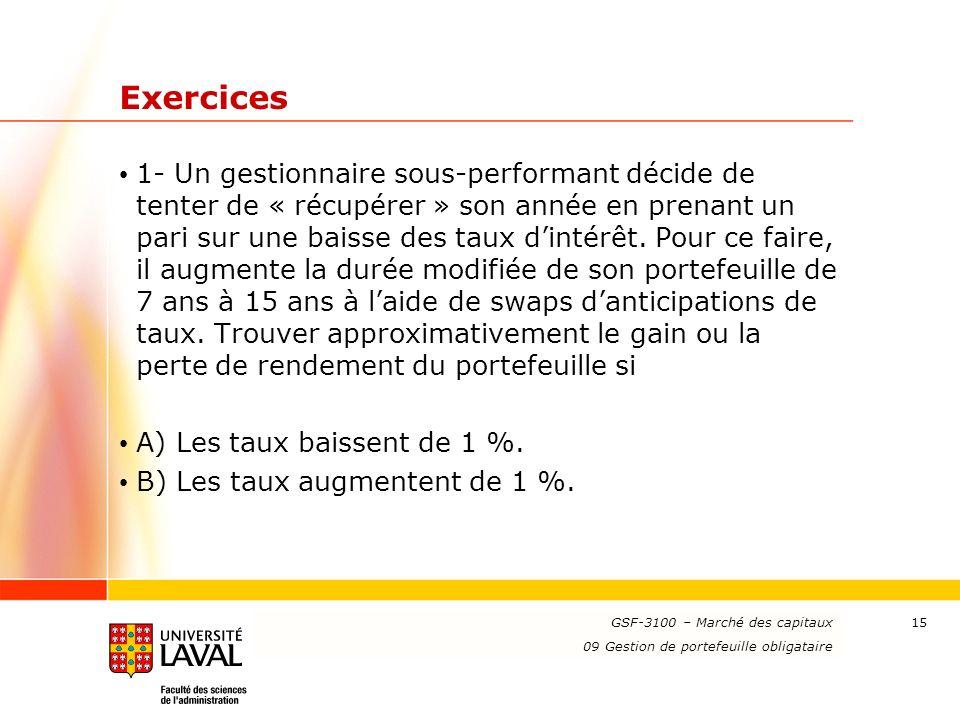 www.ulaval.ca 15 Exercices 1- Un gestionnaire sous-performant décide de tenter de « récupérer » son année en prenant un pari sur une baisse des taux dintérêt.
