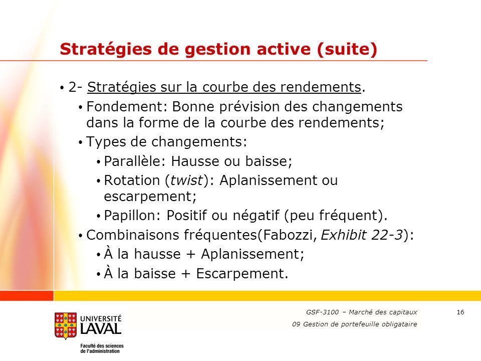 www.ulaval.ca 16 Stratégies de gestion active (suite) 2- Stratégies sur la courbe des rendements. Fondement: Bonne prévision des changements dans la f