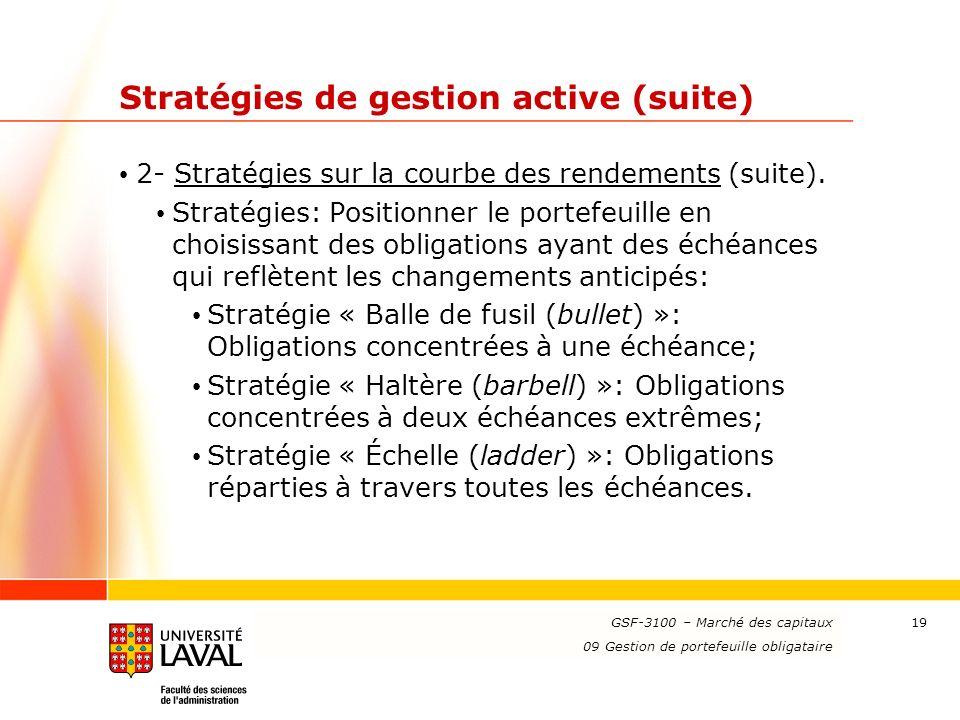 www.ulaval.ca 19 Stratégies de gestion active (suite) 2- Stratégies sur la courbe des rendements (suite). Stratégies: Positionner le portefeuille en c