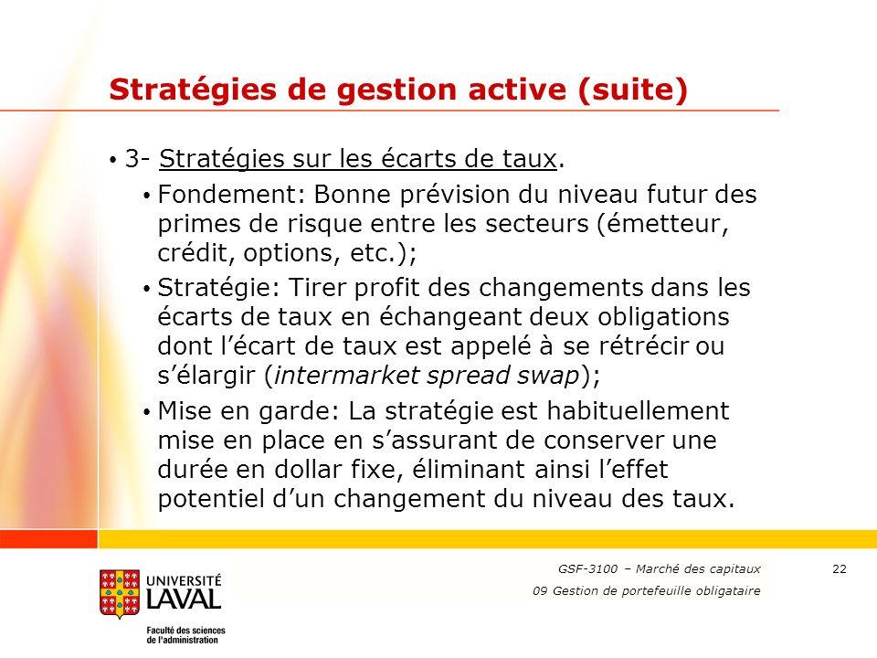 www.ulaval.ca 22 Stratégies de gestion active (suite) 3- Stratégies sur les écarts de taux. Fondement: Bonne prévision du niveau futur des primes de r