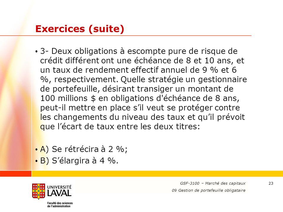 www.ulaval.ca 23 Exercices (suite) 3- Deux obligations à escompte pure de risque de crédit différent ont une échéance de 8 et 10 ans, et un taux de rendement effectif annuel de 9 % et 6 %, respectivement.