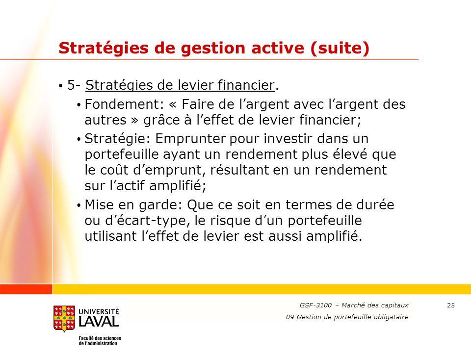 www.ulaval.ca 25 Stratégies de gestion active (suite) 5- Stratégies de levier financier. Fondement: « Faire de largent avec largent des autres » grâce