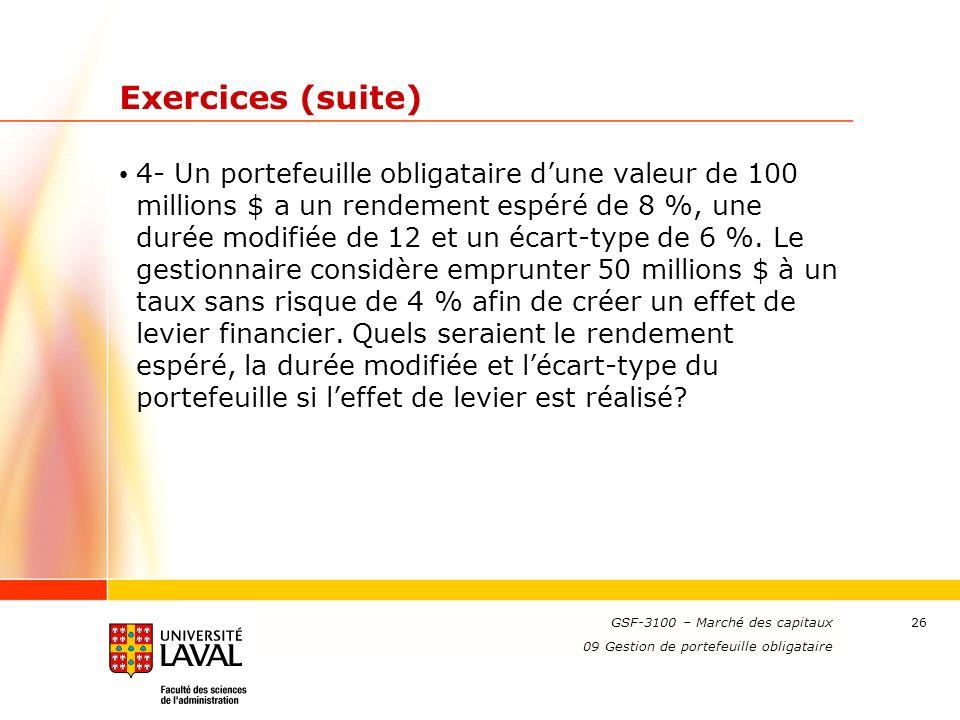 www.ulaval.ca 26 Exercices (suite) 4- Un portefeuille obligataire dune valeur de 100 millions $ a un rendement espéré de 8 %, une durée modifiée de 12