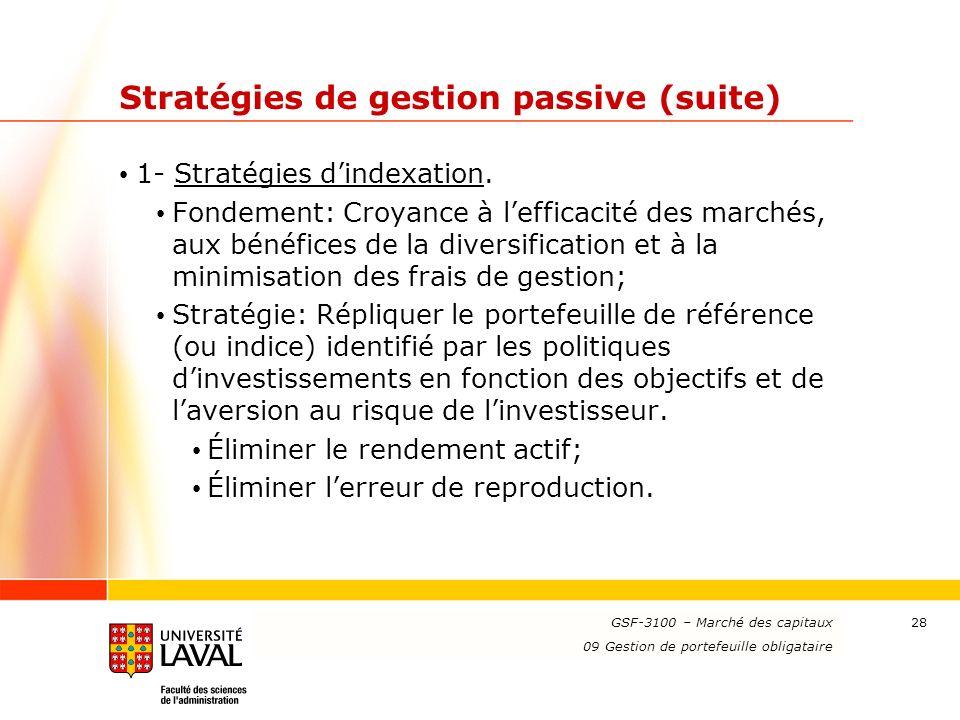 www.ulaval.ca 28 Stratégies de gestion passive (suite) 1- Stratégies dindexation. Fondement: Croyance à lefficacité des marchés, aux bénéfices de la d