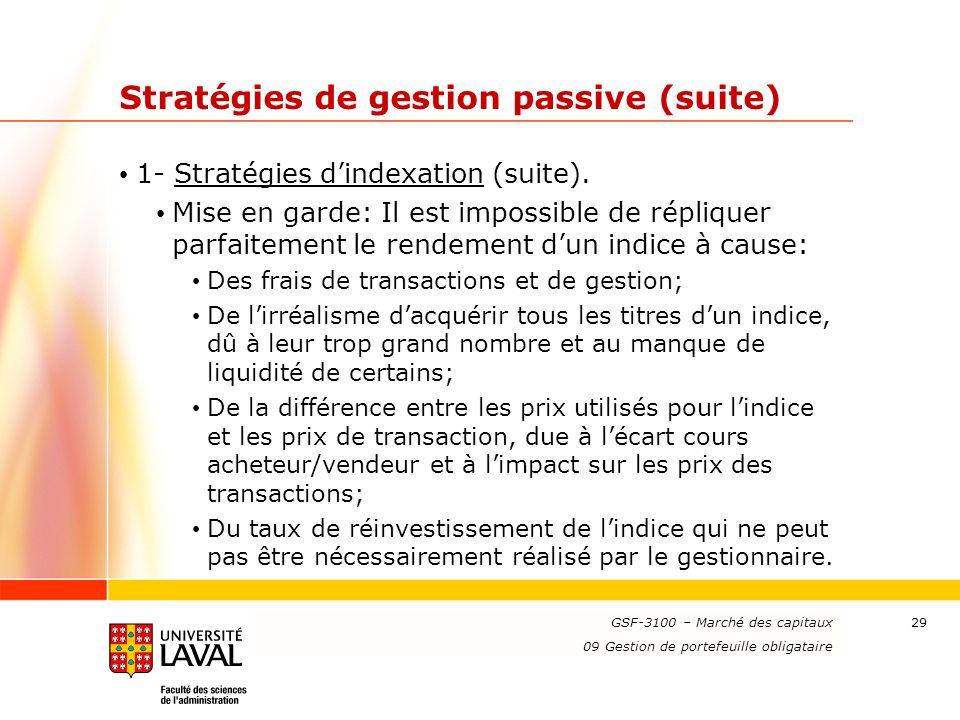 www.ulaval.ca 29 Stratégies de gestion passive (suite) 1- Stratégies dindexation (suite). Mise en garde: Il est impossible de répliquer parfaitement l