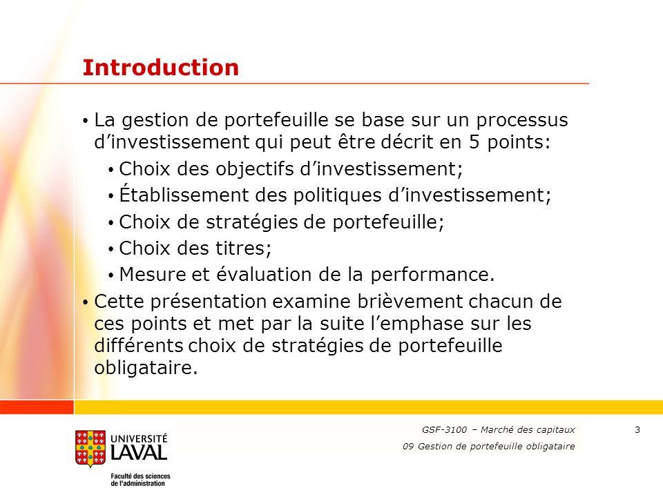 www.ulaval.ca 3 Introduction La gestion de portefeuille se base sur un processus dinvestissement qui peut être décrit en 5 points: Choix des objectifs dinvestissement; Établissement des politiques dinvestissement; Choix de stratégies de portefeuille; Choix des titres; Mesure et évaluation de la performance.