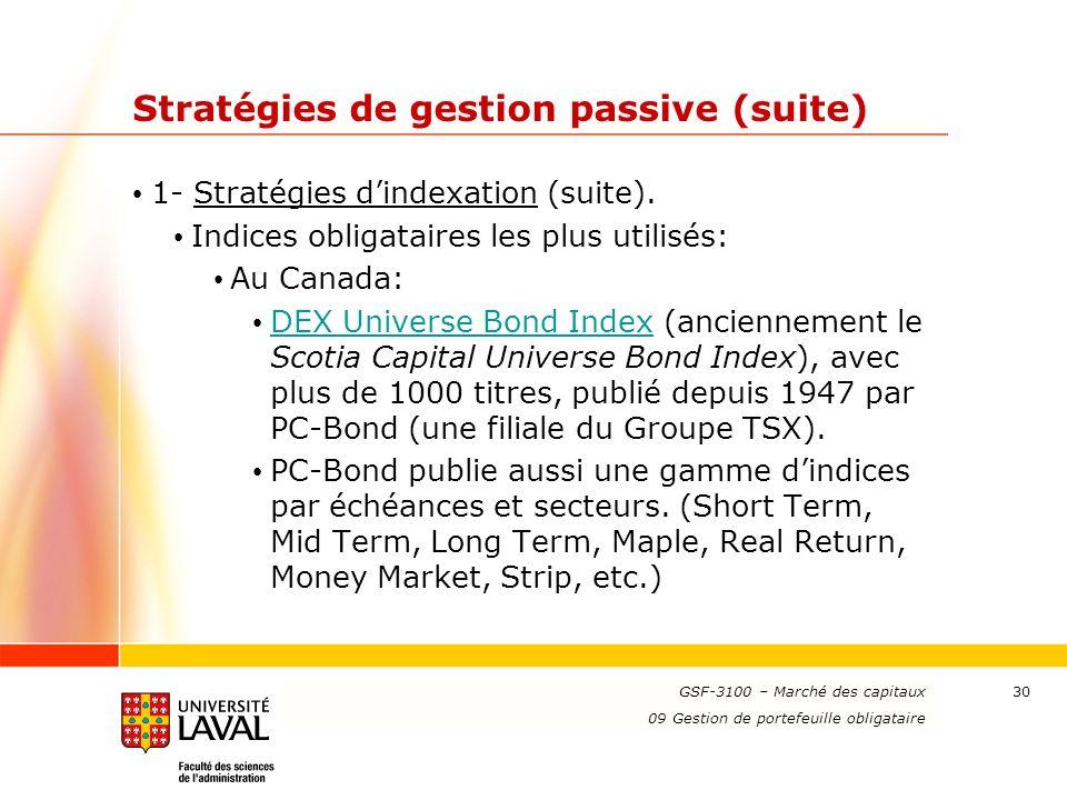 www.ulaval.ca 30 Stratégies de gestion passive (suite) 1- Stratégies dindexation (suite). Indices obligataires les plus utilisés: Au Canada: DEX Unive