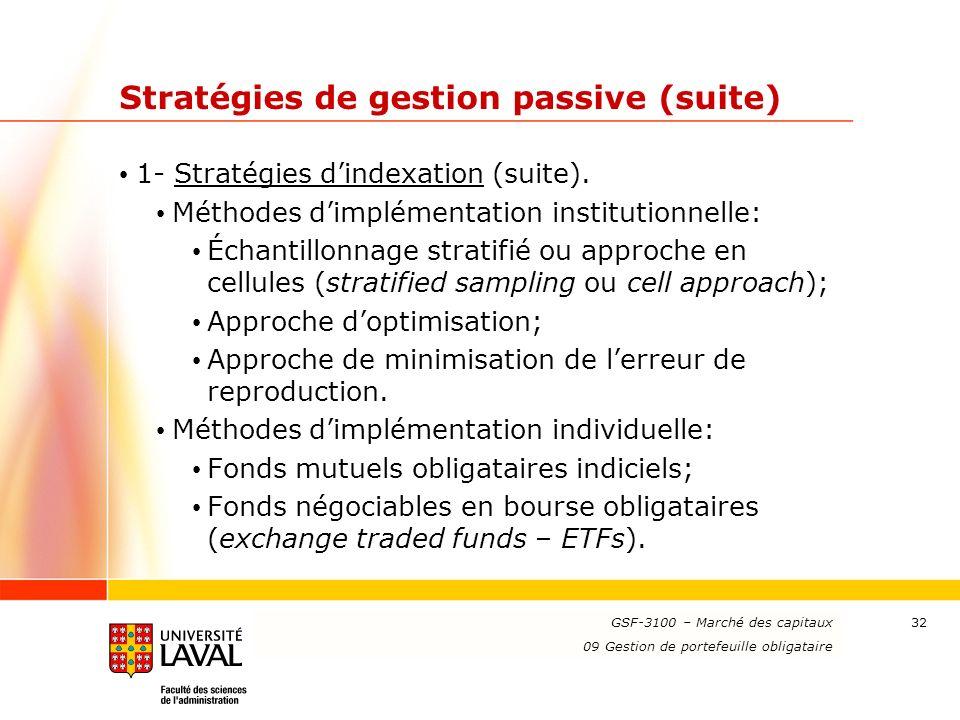 www.ulaval.ca 32 Stratégies de gestion passive (suite) 1- Stratégies dindexation (suite). Méthodes dimplémentation institutionnelle: Échantillonnage s
