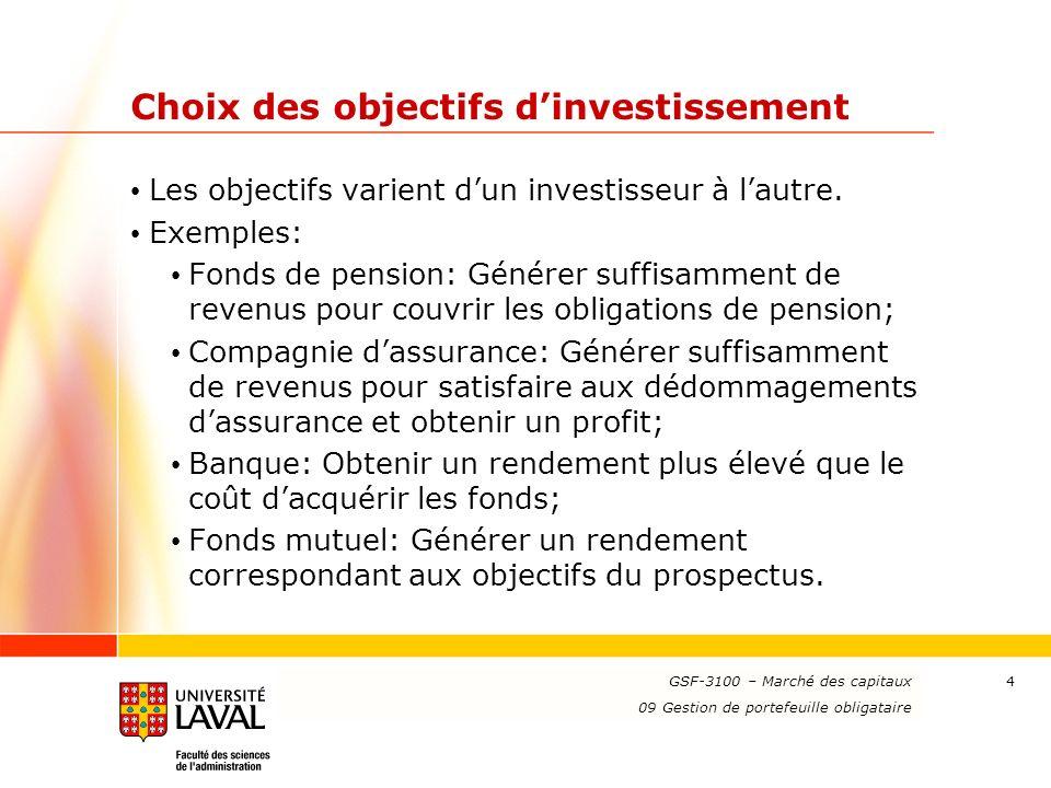 www.ulaval.ca 4 Choix des objectifs dinvestissement Les objectifs varient dun investisseur à lautre. Exemples: Fonds de pension: Générer suffisamment