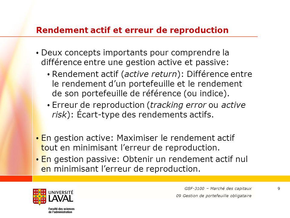 www.ulaval.ca 9 Rendement actif et erreur de reproduction Deux concepts importants pour comprendre la différence entre une gestion active et passive: