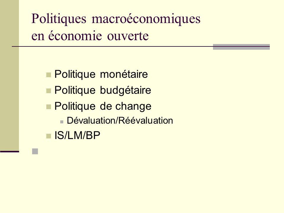 Politiques macroéconomiques en économie ouverte Politique monétaire Politique budgétaire Politique de change Dévaluation/Réévaluation IS/LM/BP