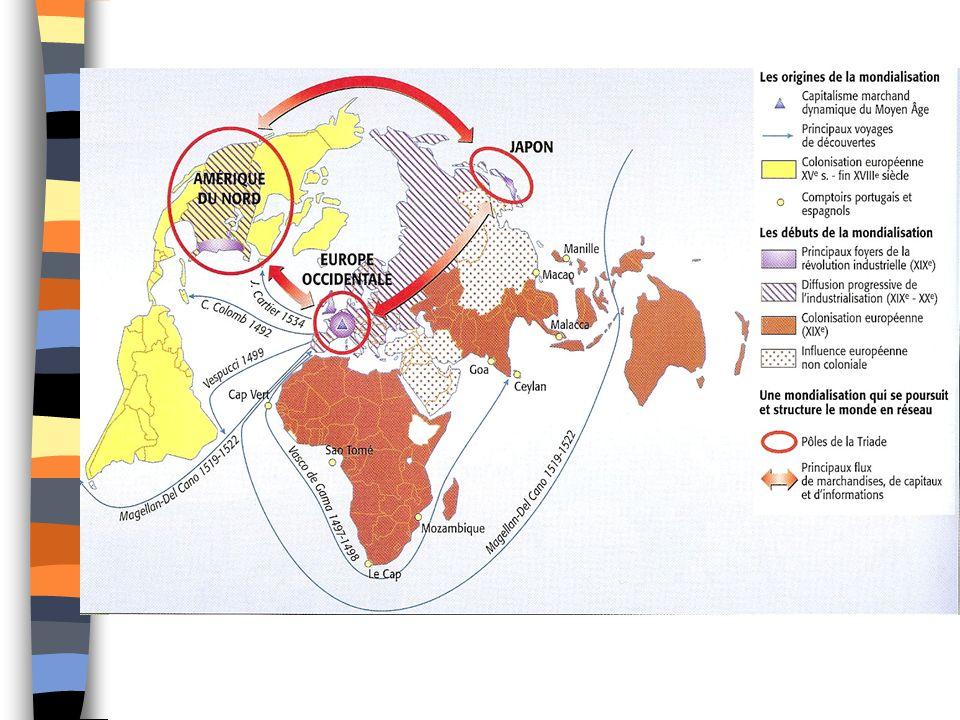 Q1 : Espace mondial Carte centrée sur le pôle A.