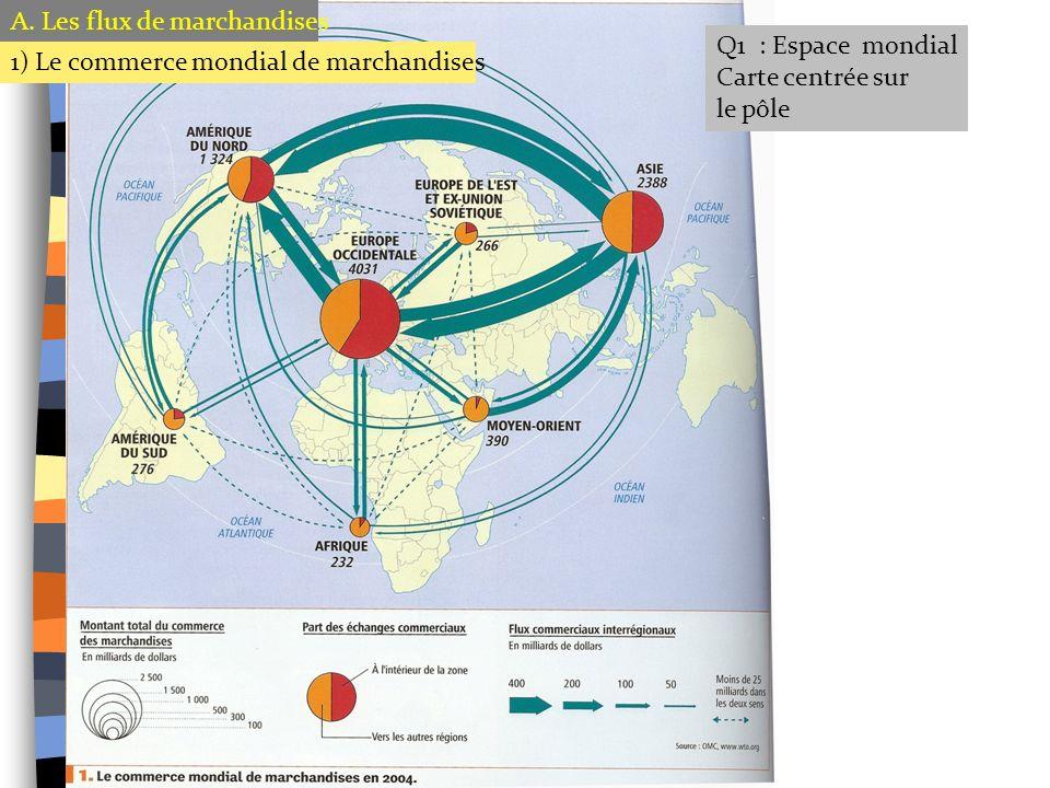 Q1 : Espace mondial Carte centrée sur le pôle A. Les flux de marchandises 1) Le commerce mondial de marchandises