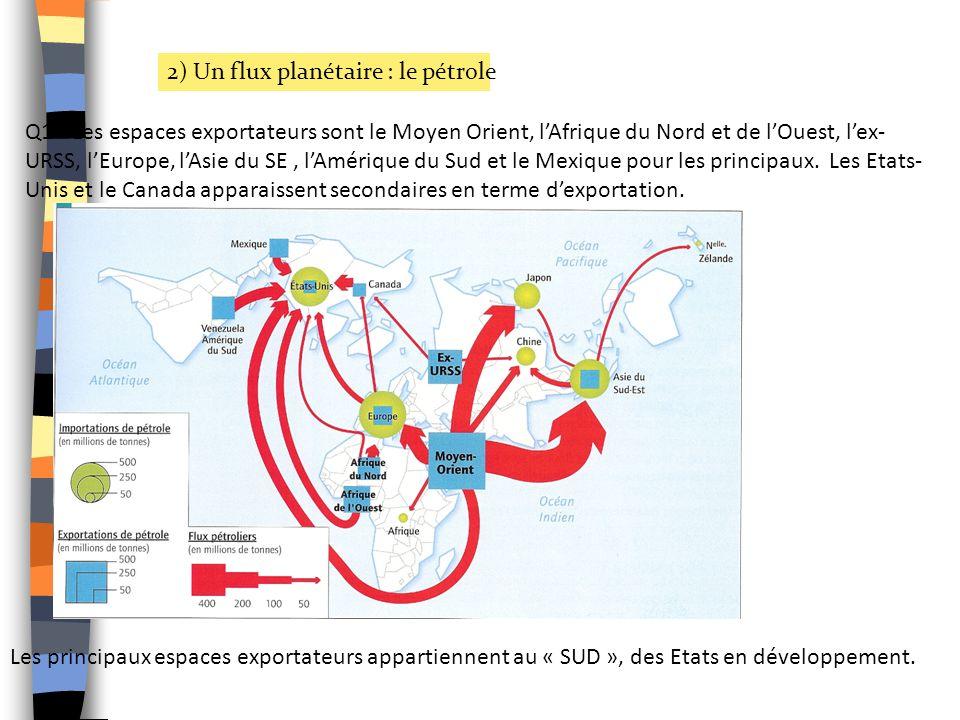 2) Un flux planétaire : le pétrole Q1 - Les espaces exportateurs sont le Moyen Orient, lAfrique du Nord et de lOuest, lex- URSS, lEurope, lAsie du SE,