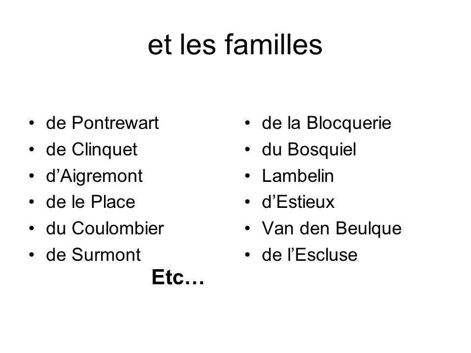 et les familles de Pontrewart de Clinquet dAigremont de le Place du Coulombier de Surmont de la Blocquerie du Bosquiel Lambelin dEstieux Van den Beulq