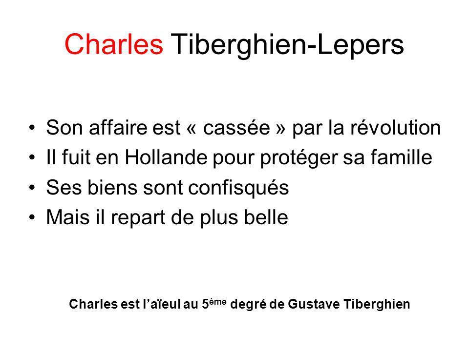 Charles Tiberghien-Lepers Son affaire est « cassée » par la révolution Il fuit en Hollande pour protéger sa famille Ses biens sont confisqués Mais il