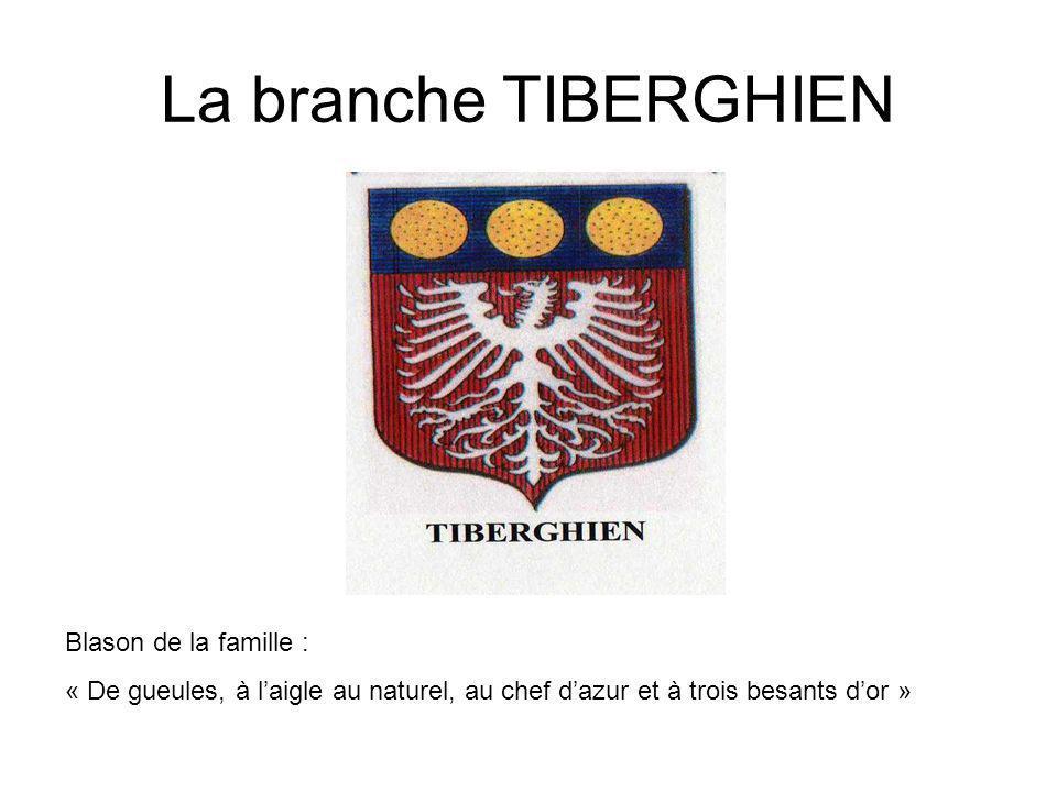 La branche TIBERGHIEN Blason de la famille : « De gueules, à laigle au naturel, au chef dazur et à trois besants dor »