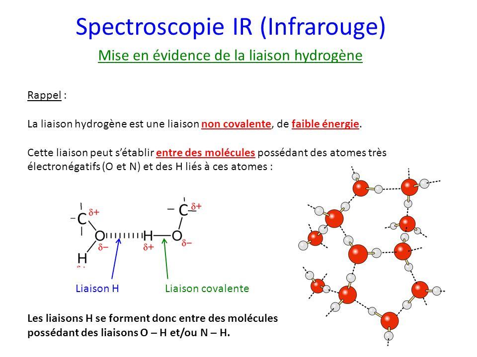 Spectroscopie IR (Infrarouge) Mise en évidence de la liaison hydrogène Rappel : La liaison hydrogène est une liaison non covalente, de faible énergie.