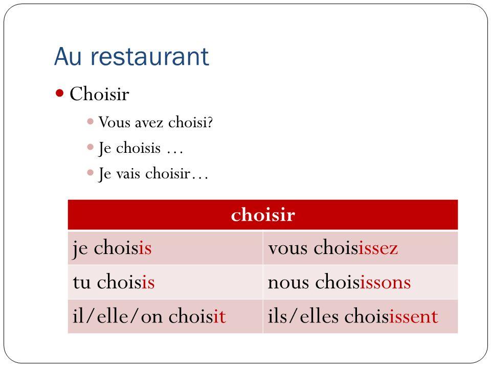 Au restaurant Choisir Vous avez choisi? Je choisis … Je vais choisir… choisir je choisisvous choisissez tu choisisnous choisissons il/elle/on choisiti