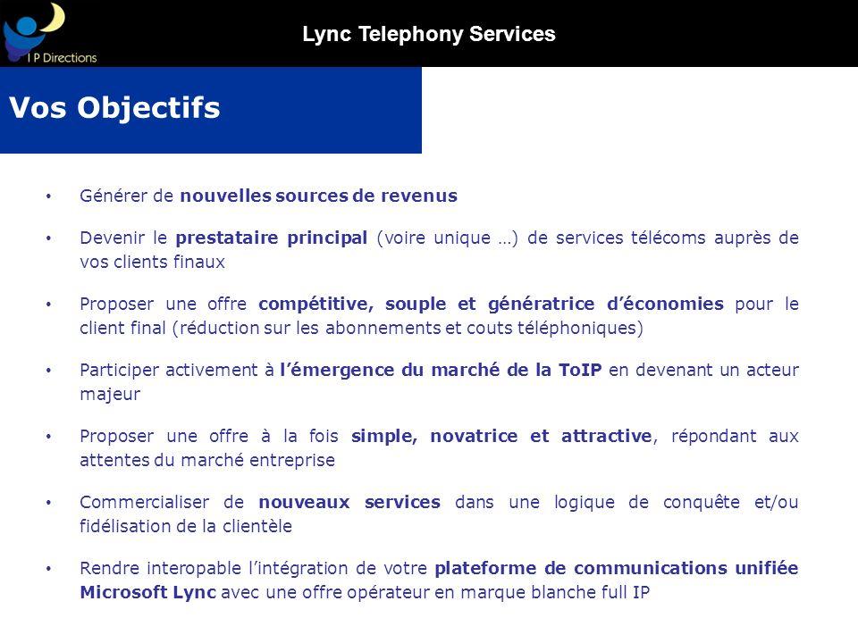 Lync Telephony Services Générer de nouvelles sources de revenus Devenir le prestataire principal (voire unique …) de services télécoms auprès de vos c
